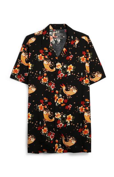 Schwarzes Hemd mit Koi-Fischmotiv