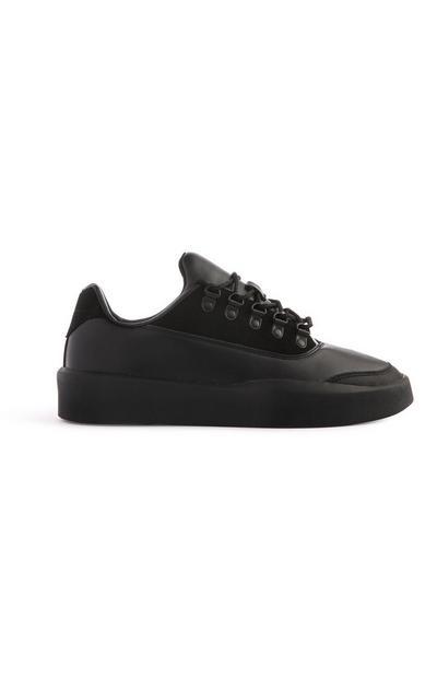 Black Faux Leather Trainer