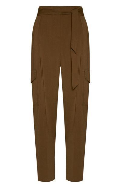 Khaki Wide Leg Cargo Trousers