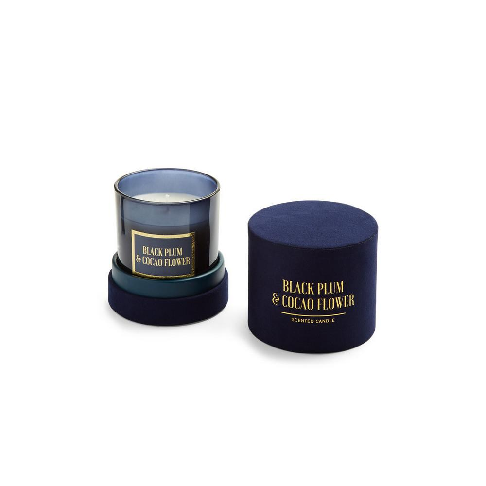 Black Plum And Cocao Flower Scented Candle In Blue Velvet Box by Primark