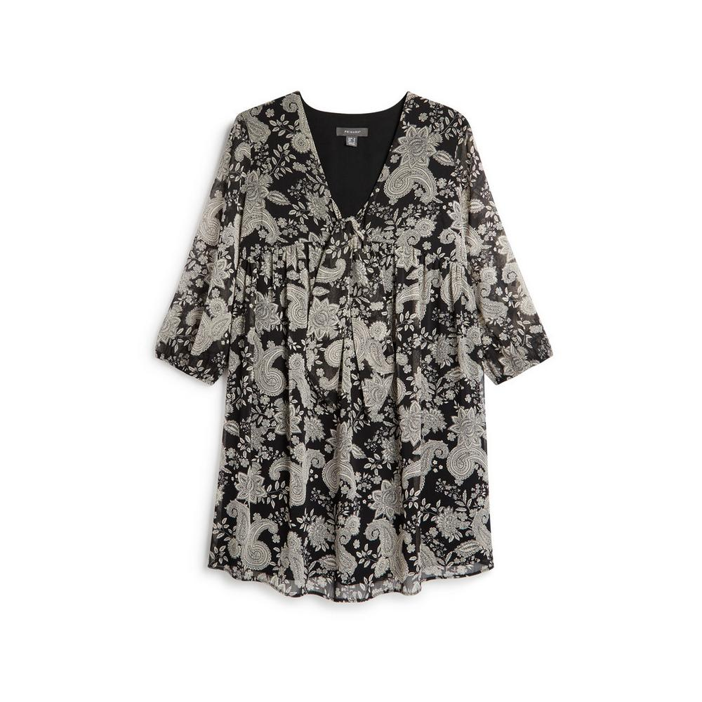 Black Paisley Print Tie Front Dress by Primark