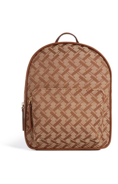 Tan Tile Print Backpack