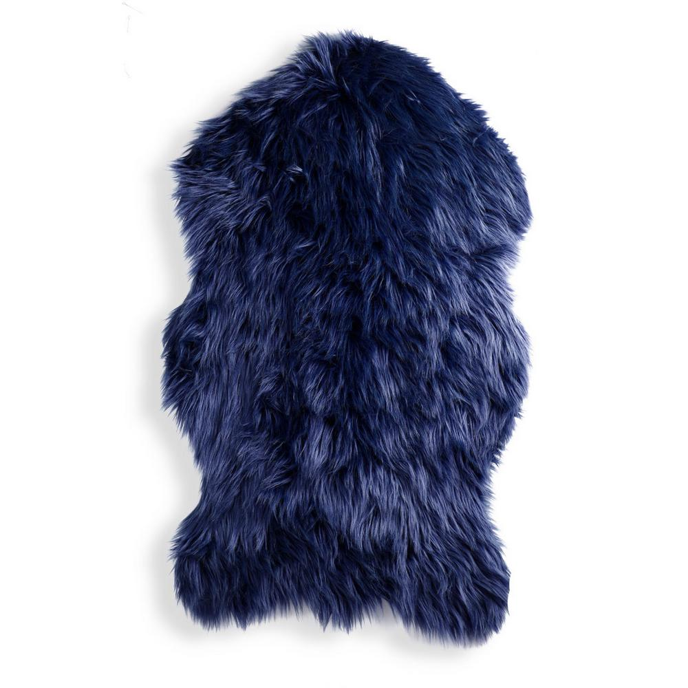 Blue Faux Sheep Skin Throw by Primark