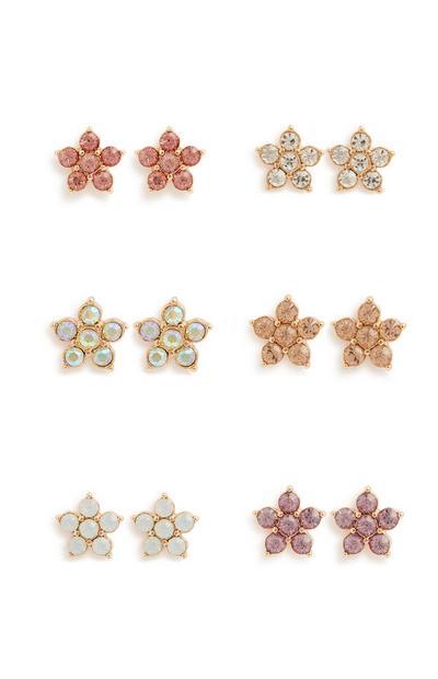 Flower Studs Earring 6Pk