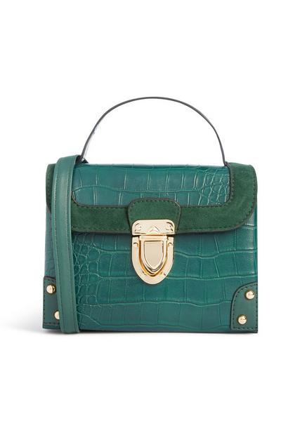 Teal Croc Texture Box Bag