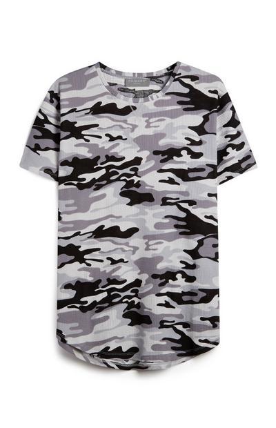 Graues T-Shirt mit Tarnmuster