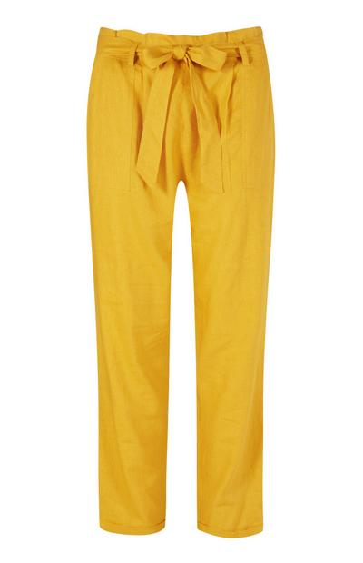 Yellow Belted Linen Trouser