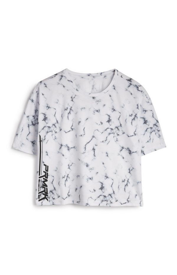 "Weißes ""PRMRK"" T-Shirt mit Marmormuster"