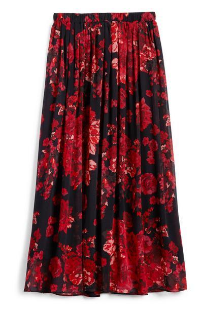 Red Floral Chiffon Midi Skirt