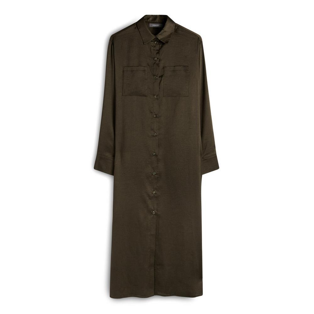 Khaki Long Satin Button Up Shirt Dress by Primark
