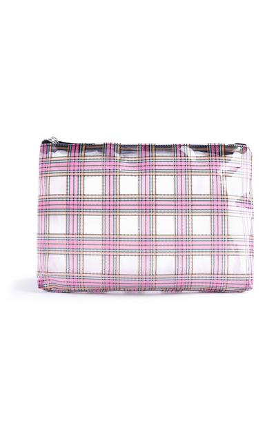 Clear Pink Check Wash Bag