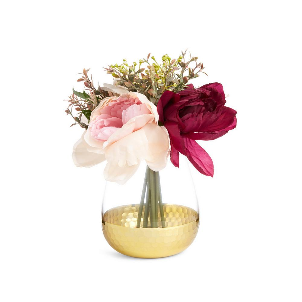 Large Mixed Faux Flower And Foliage In Gold Vase by Primark