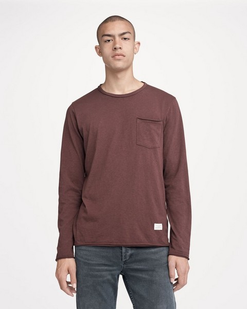 RAG & BONE LONG-SLEEVE RAW EDGE TEE