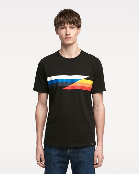 RAG & BONE GLITCH STRIPE T-SHIRT