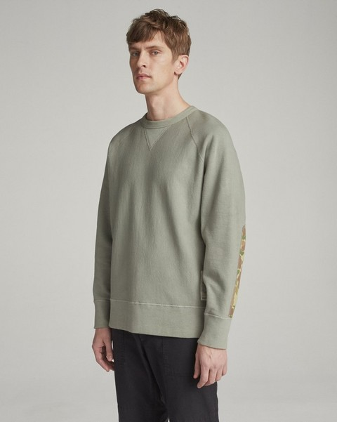RAG & BONE ELBOW PATCH RACER SWEATSHIRT
