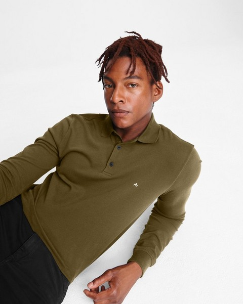 RAG & BONE HYPER-LAUNDERED PIQUE POLO LONG SLEEVE