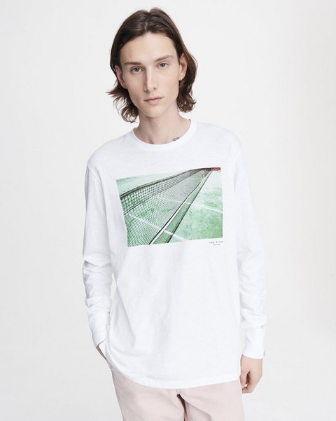 RAG & BONE TENNIS COURT PHOTO LONG SLEEVE TEE