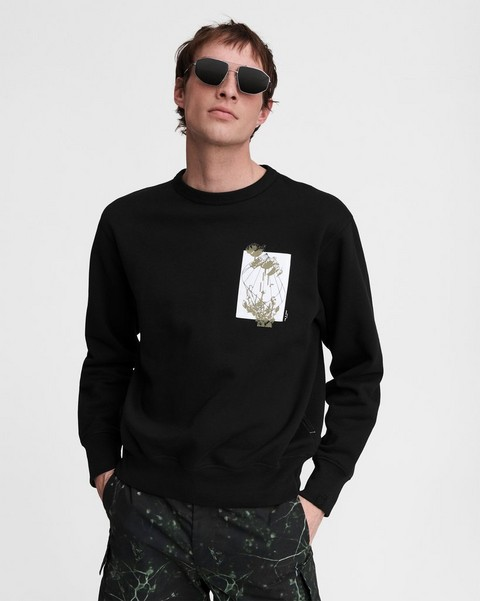RAG & BONE Glitched Floral Cotton Sweatshirt