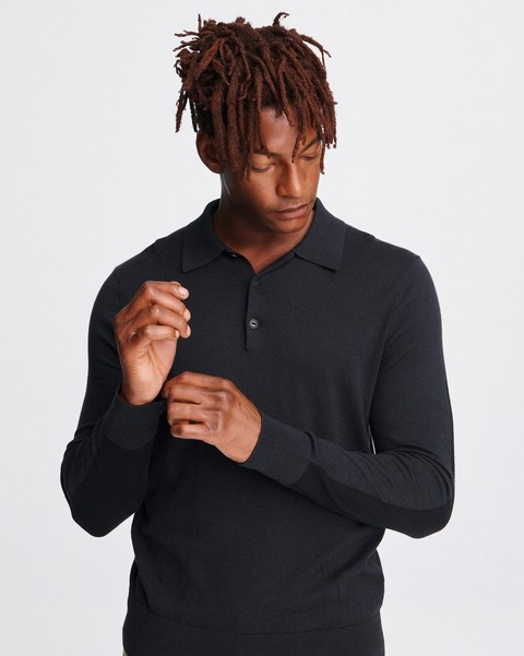 RAG & BONE BARROW LONG SLEEVE POLO
