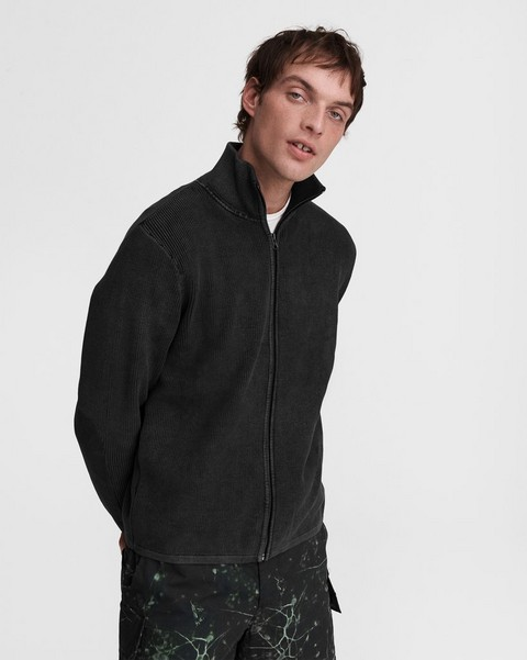 RAG & BONE Dexter Zip Through Cotton Sweater