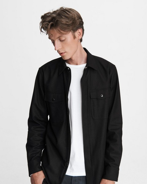 RAG & BONE Jack Zip Wool Blend Shirt Jacket