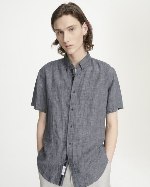 RAG & BONE FIT 2 TOMLIN SHORT SLEEVE LINEN SHIRT