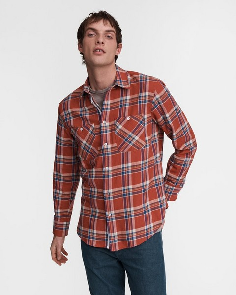 RAG & BONE Japanese Plaid Gus Cotton Shirt