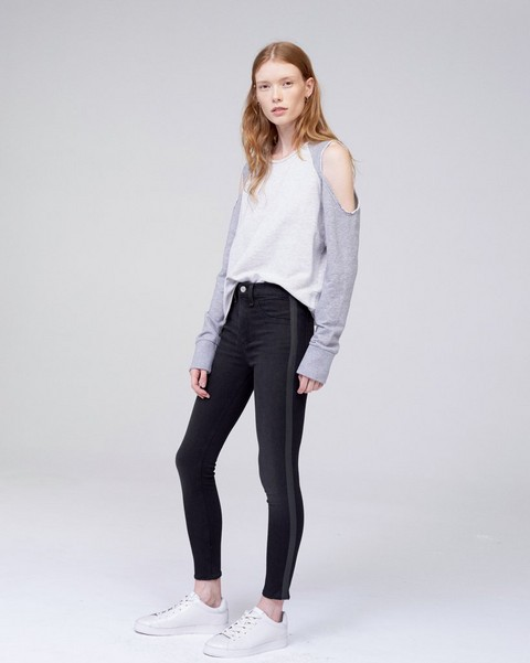 RAG & BONE HIGH RISE ANKLE SKINNY WITH BLACK TAPE