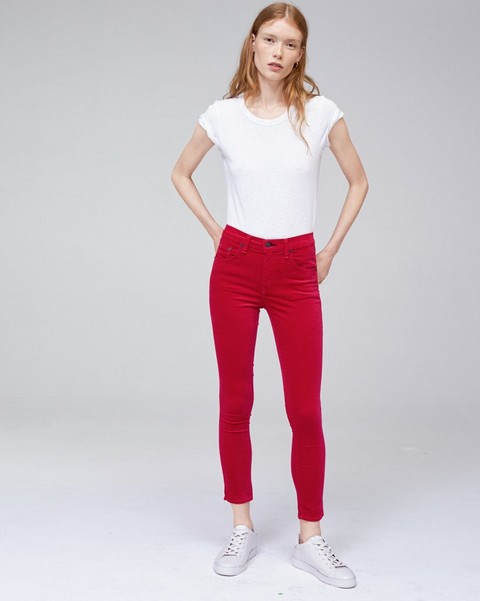 RAG & BONE HIGH RISE VELVET ANKLE SKINNY WITH SLIT
