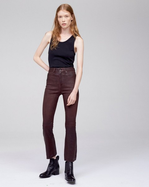 RAG & BONE LEATHER CROP FLARE