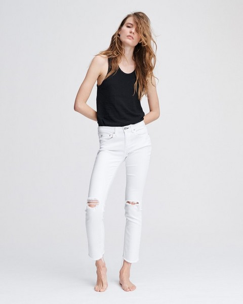 RAG & BONE Dre Low-Rise Boyfriend - White With Holes