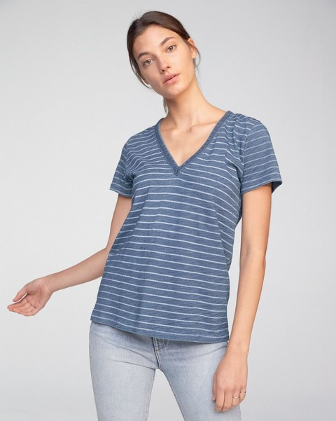 RAG & BONE THE VEE INDIGO BLEACH STRIPE