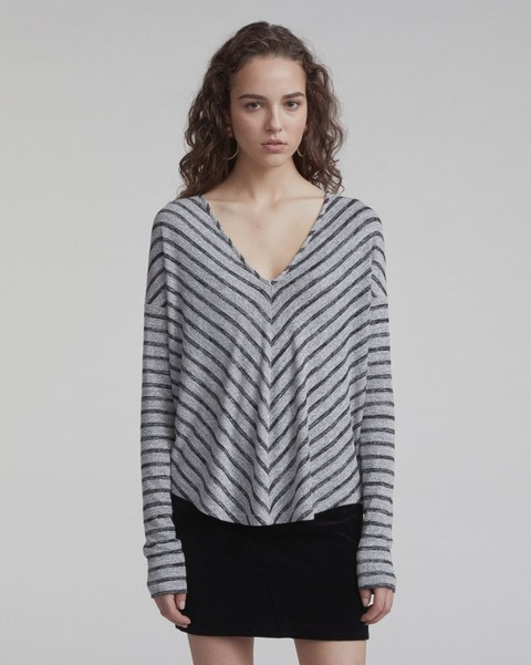 RAG & BONE STRIPED HUDSON VEE LONG-SLEEVE