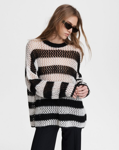 RAG & BONE Sadie Striped Merino Wool Blend Crew