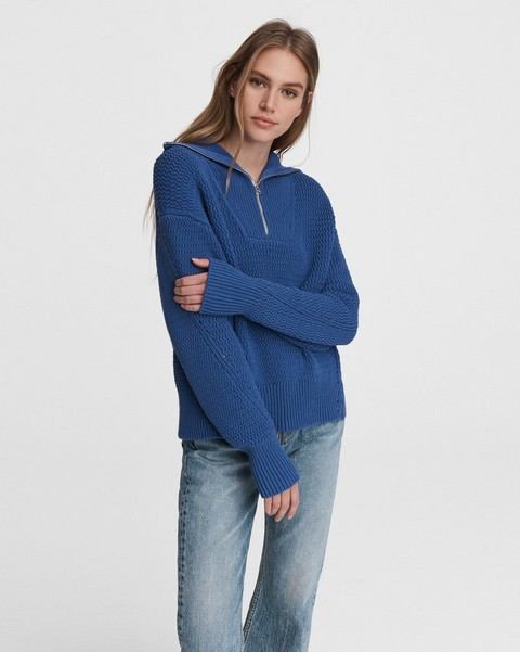 RAG & BONE Lena Half Zip Cotton Sweater