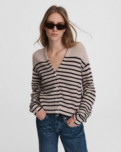 RAG & BONE Ann Striped Cotton Cashmere Cardigan