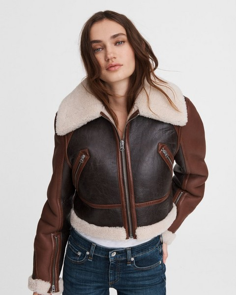 RAG & BONE Cropped Aviator Shearling Jacket