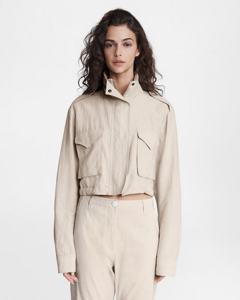 RAG & BONE M65 Cropped Linen Blend Field Jacket