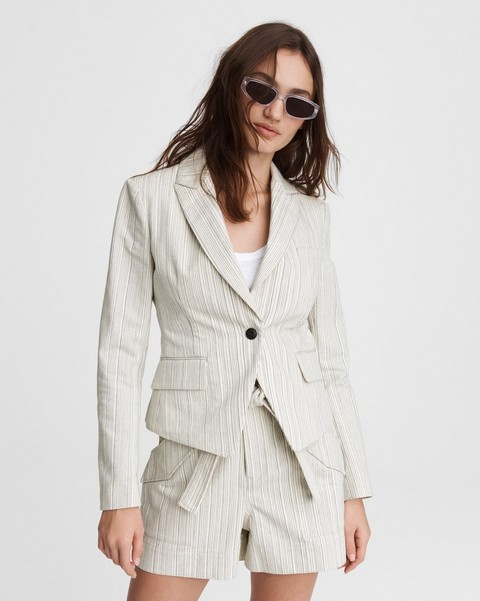 RAG & BONE Fletcher Striped Linen Blazer