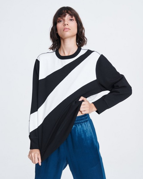 RAG & BONE ABSTRACT ZEBRA COTTON PULLOVER