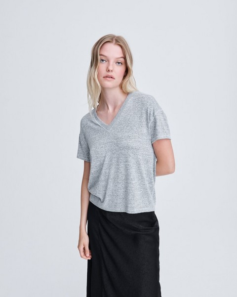 RAG & BONE THE KNIT VNECK SHORT SLEEVE