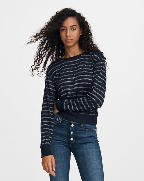 RAG & BONE STRIPED AVRYL JERSEY PULLOVER