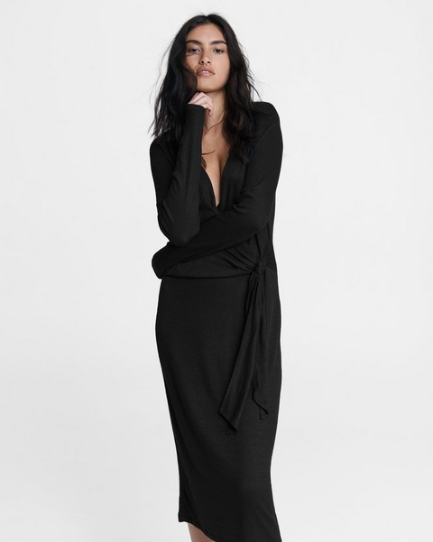 RAG & BONE Knit Rib Tie Midi Dress