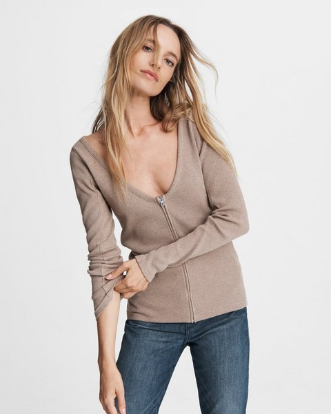 RAG & BONE Laila Zip Cotton Long Sleeve