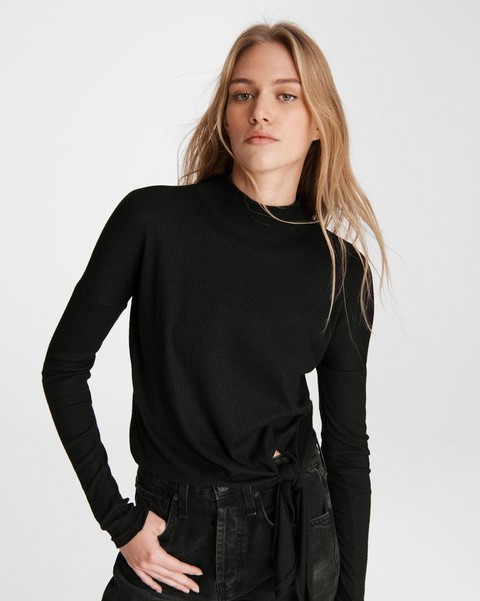RAG & BONE The Rib Knit Tie Turtleneck