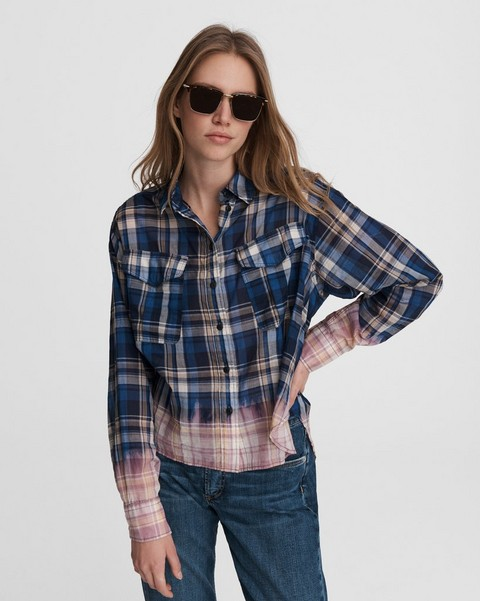 RAG & BONE Florian Plaid Cropped Cotton Shirt
