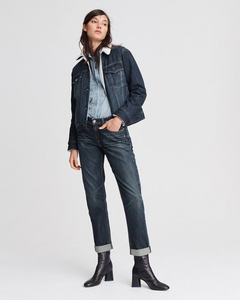 RAG & BONE CLASSIC TRUCKER DENIM JACKET WITH FLEECE