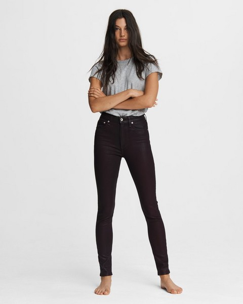 RAG & BONE Nina High-Rise Skinny - Coated Plum