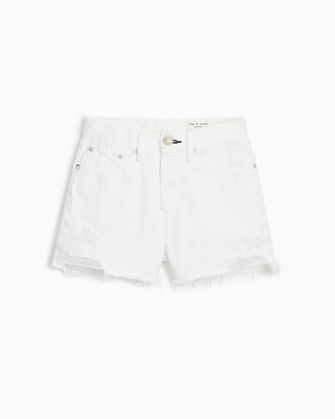 RAG & BONE Maya High-Rise Short - Worn White With Holes