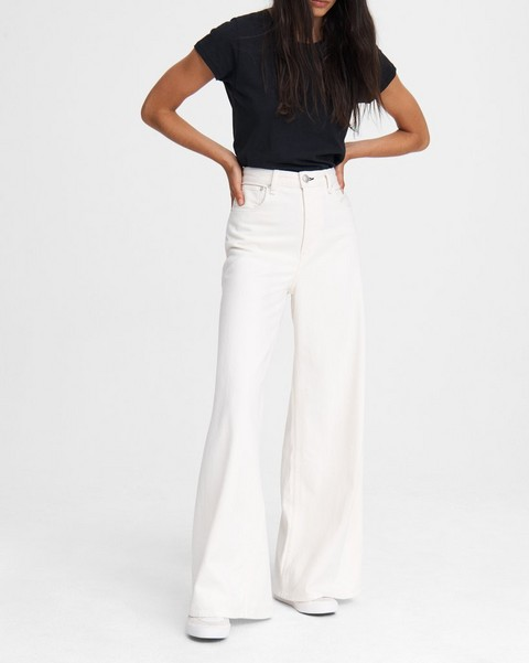 RAG & BONE Ruth Super High-Rise Ultra Wide Leg - Ecru